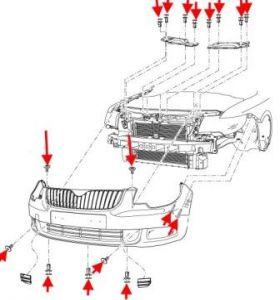Как снять передний и задний бампер SKODA SUPERB 2 (B6)