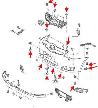 Как снять передний и задний бампер Toyota Corolla Verso