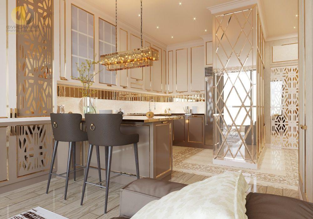 Glansigt beige kök i modern stil