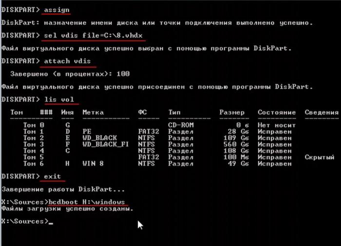 Создание загрузчика для Windows 8.1, 10, установленной на виртуальный диск VHDX