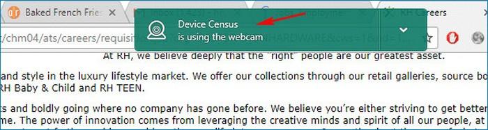 Device Census использует веб-камеру