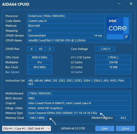 Сведения о RAM в AIDA64 CPUID