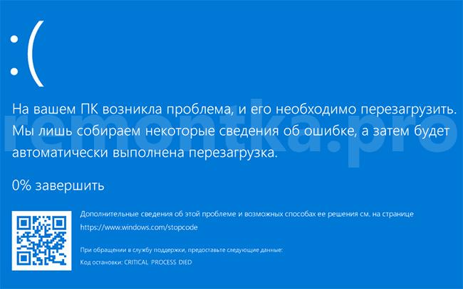 CRITICAL PROCESS DIED Windows 10  remontkapro