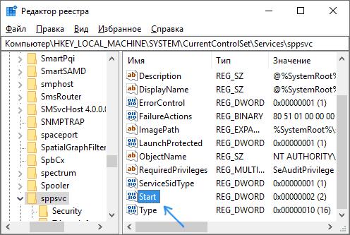 Отключение sppsvc.exe в реестре