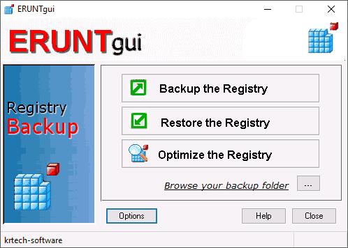 Резервное копирование реестра в ERUNTgui