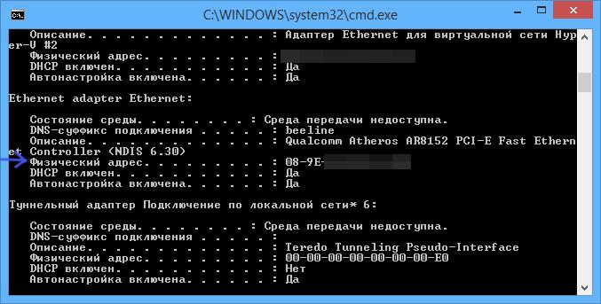 MAC адрес в результатах ipconfig Windows