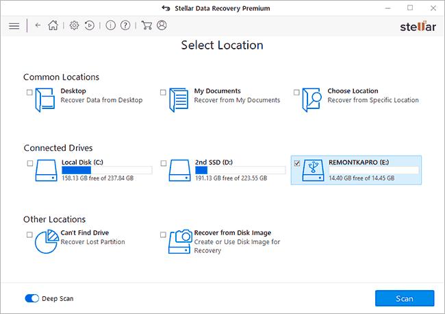 Выбрать диск, с которого нужно восстановить данные