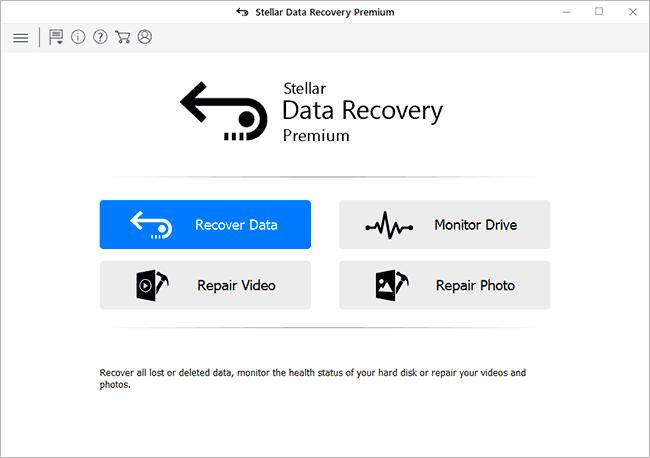 Главное окно Stellar Data Recovery Premium
