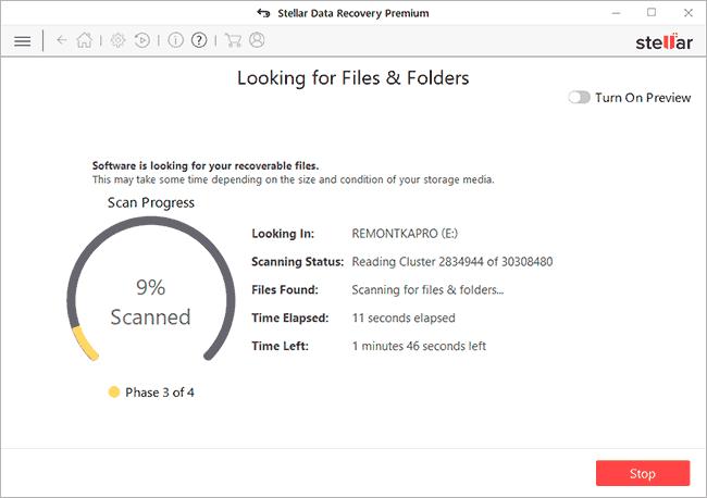 Процесс поиска файлов в Stellar Data Recovery