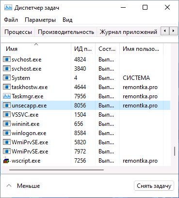 unsecapp.exe в списке процессов