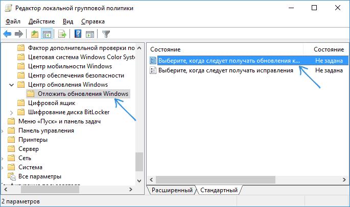 Parametri suplimentari în Centrul de actualizare Windows 10