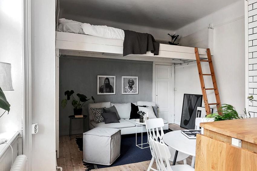 дизайн комнаты 20 квм фото с одним окном разделение на 2 зоны 2