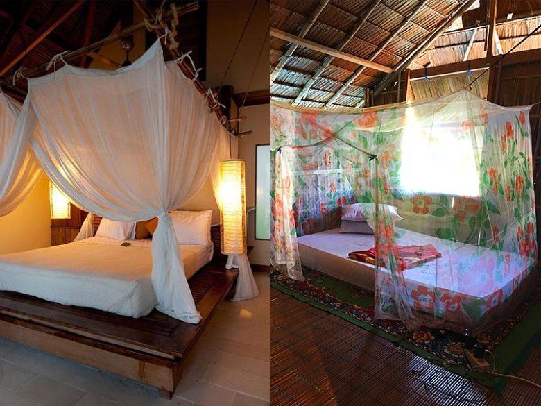 inside a basic homestay water bungalow vs resort