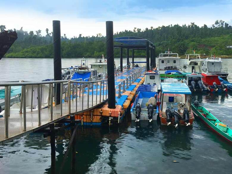 Waisai jetty homestay boat transfer journey to Raja Ampat