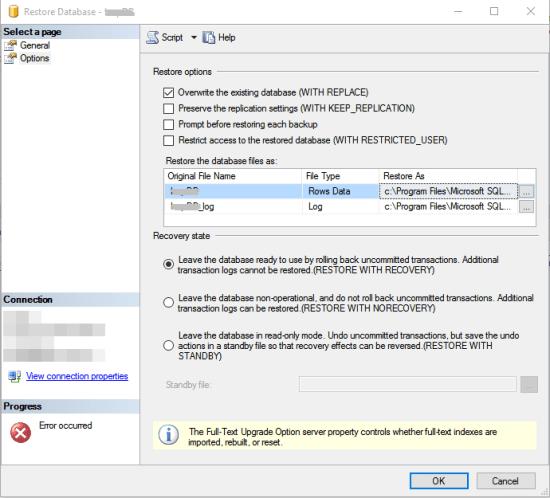 SQL Server - overwrite existing database (2)
