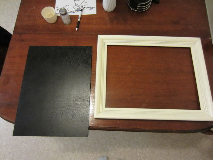cut the plywood wood piece to fit your frame then spray paint the frame the color you choose spray paint the plywood with the chalkboard spray paint