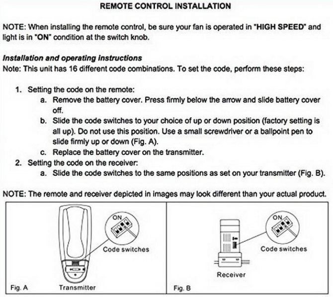 ceiling fan remote control replacements