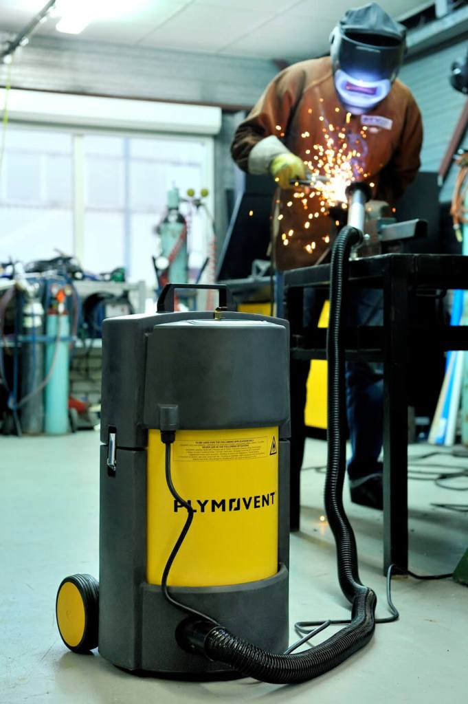 Welding using a Plymovent portable high vacuum welding fume extractor