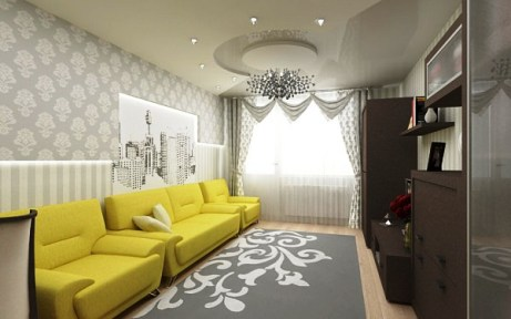 living room wallpaper and furniture