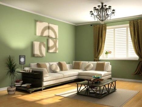 green wallpaper for living room