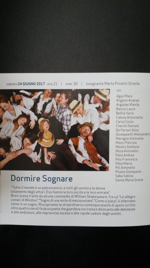 """Spettacolo Teatrale """"Dormire Sognare"""" - 24 Giugno 2017, ore 21:00"""