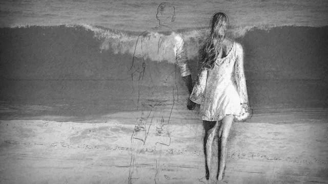 海辺のカップル 手をつなぐ