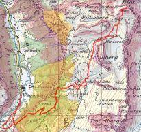 """Die Route führt im Chäserenwald durch die Wildruhezone """"Chäserenwald Gänigenbach"""" (Nr. 50000037), mit der Bitte, diese nicht zu betreten, resp. nur auf eingezeichneter Route zu durchqueren. Respektlos nutzten nicht wenige Türeler die Abkürzung druch den Wald(!). Die lila markierten Flächen haben eine Steilheit von >30°. (Quelle: map.geo.admin.ch)"""