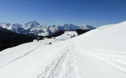 Altschen im Rückblick, links verläuft die gepfadete Winterwanderstrecke zur Vorder Höhi