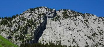 Die Kletterwand des Brüggler, wo sich heute einige Kletterer tummeln.