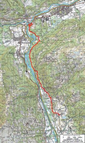 Die Strecke (Quelle: map.geo.admin.ch)