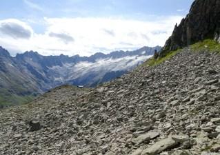 Im Blockhang, in der Bildmitte die Bergseehütte SAC