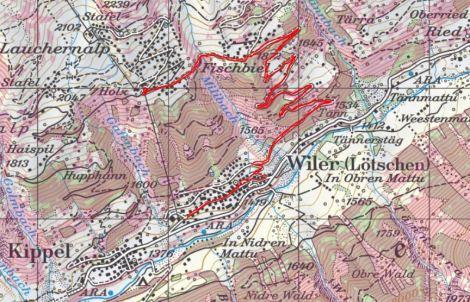 Die Route, die rosa eingefärbten Stellen sind >30° steil