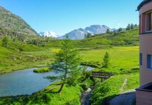 Kurz vor dem Start beim Hotel Monte Leone geht der Fernblick bis zum Finsteraarhorn (identifiziert dank Gipfelkenner Michael...)
