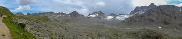 Keschhütten-Panorama, Vadret da Porchabella und rechts das Massiv des Piz Kesch