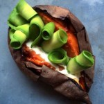 sweet potato with avocado and cottage cheese