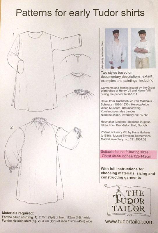Renaissance Shirt Pattern : renaissance, shirt, pattern, Men's, Early, Tudor, Shirts, (larger, Sizes), Renaissance, Fabrics