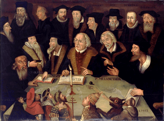 Picture of 'Martin Luther in the Circle of Reformers', artist unknown. German School, 1625-1650. Wikimedia Commons.