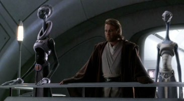 Lama Su, Taun We, and Obi-Wan Kenobi overlook the cloning production