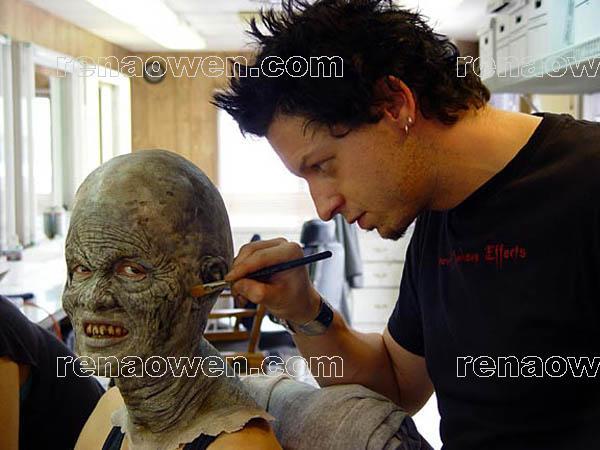 Makeup wizard Robert Hall applies Dinza makeup to Rena Owen