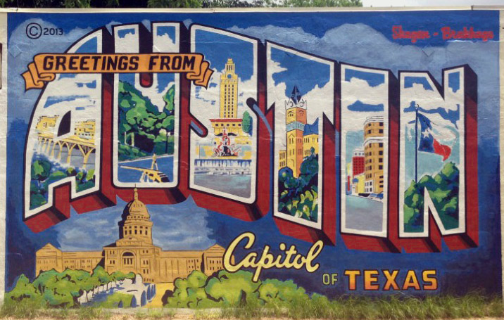 Greetings from Austin mural in Austin, Texas