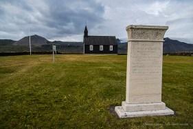 The Black Church at Búðir and the stone honoring Steinunn Sveinsdottir. Nikon D810, 24 mm (24-120.0 mm ƒ/4) 1/320 sec ƒ/4.5 ISO 64