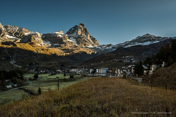 A view of Cervinia with the Matterhorn at dawn. Nikon D810, 24mm (24.0mm ƒ/1.4) 1/80 ƒ/8 ISO 64