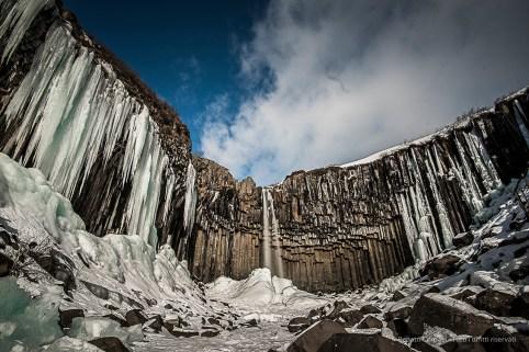 """Skaftafell, Svartifoss fall, among the typical basalt columns. Nikon D810, 20 mm (20.0 mm ƒ/1.8) 6"""" ƒ/8 ISO 64, Lee big stopper, HD 10 S filter"""