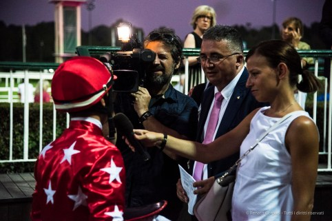 "The interview. Jockey Mezzatesta under the spotlight. Nikon D810, 78 mm (24-120.0 mm ƒ/4) 1/1250"" ƒ/4 ISO 6400"
