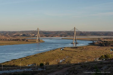 """The bridge across the Guadiana River, connecting Ayamonte to Castro Marim in Portugal. Nikon D810, 85 mm (85.0 mm ƒ/1.4) 1/60"""" ƒ/11 ISO 64"""