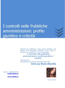 I controlli nelle Pubbliche Amministrazioni profilo giuridico e criticità