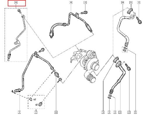 Przewod zasilania oleju turbosprężarki Renault 7701476032