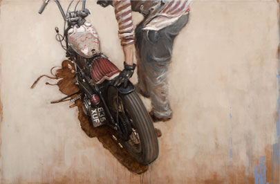 Oil Painting of Chopper Motorcycle by Hans Sures