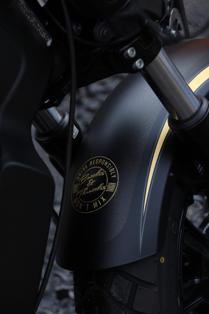 Indian-Scout-Bobber-Custom-Gold-Black-Jack-Daniels-Front-Fender-Rear-Shot