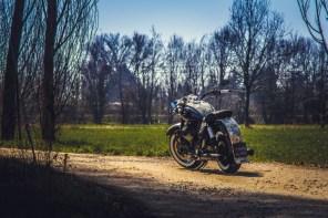 Moto Guzzi V9 Bobber Custom, 'Vecchio Conio' by Rustom [left distant]